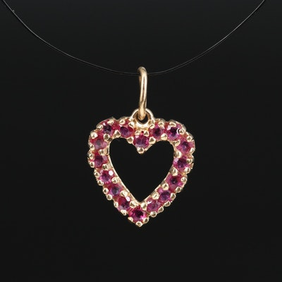 14K Ruby Heart Pendant