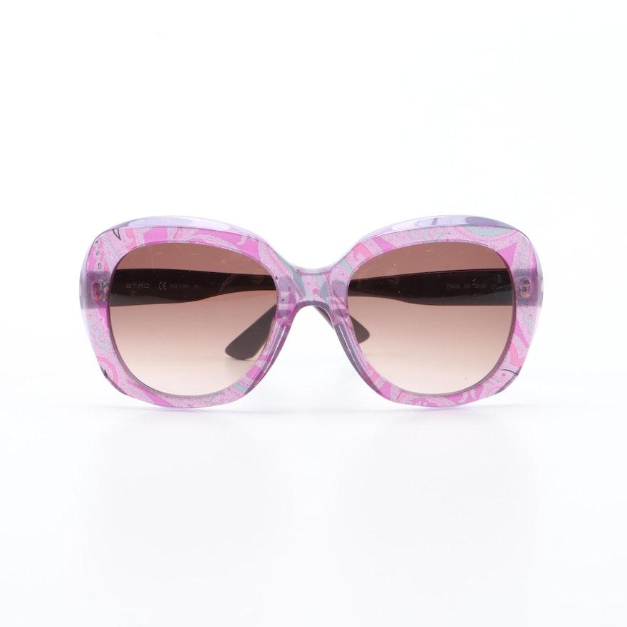 ETRO ET633S Violet Paisley Modified Cat Eye Sunglasses with Case