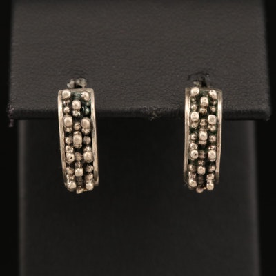 Sterling Silver Textured Hoop Earrings with 14K Accents and Posts