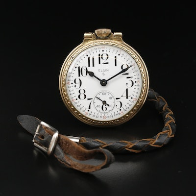 Elgin Montgomery Dial Pocket Watch with Braided Leather Fob
