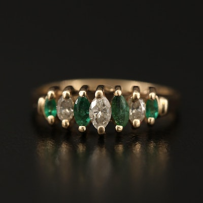 14K Emerald and Diamond Ring Featuring Stepped Design