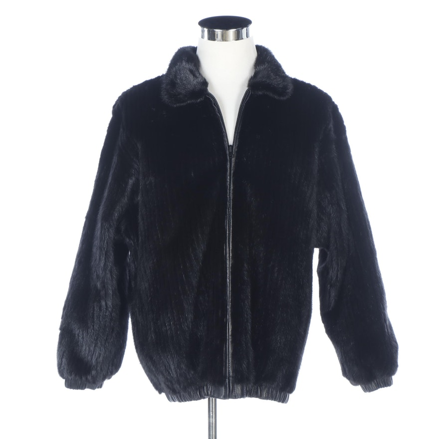 Corded Mink and Black Leather Reversible Bomber Jacket