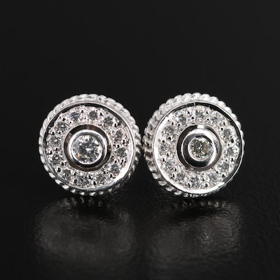 18K Diamond Button Earrings