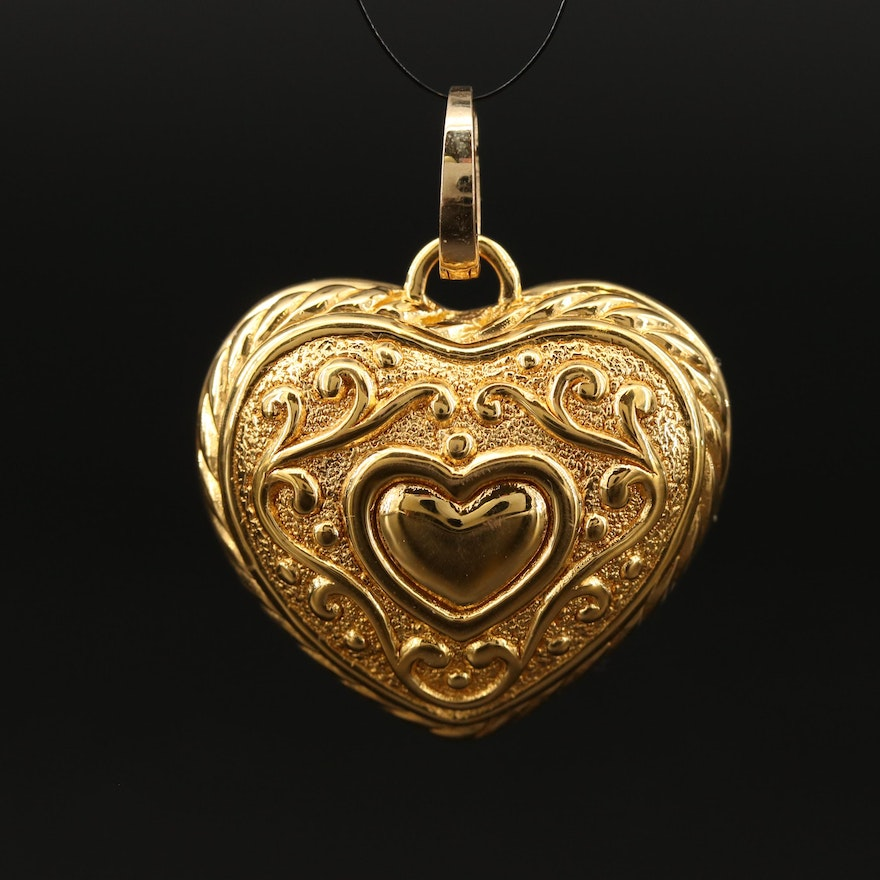 14K Heart Pendant with Hinged 10K Bail