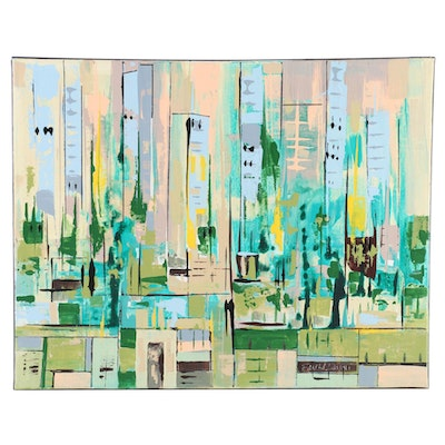 Farshad Lanjani Acrylic Painting of Abstract Cityscape