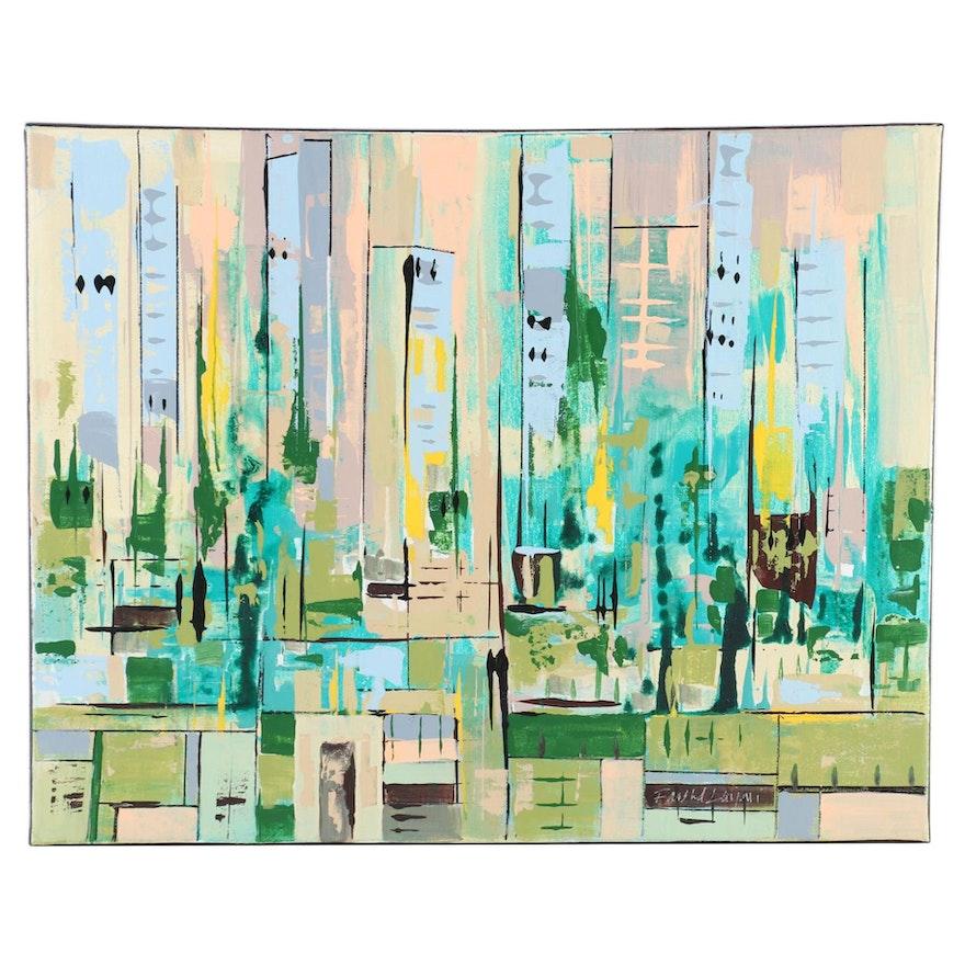 Farshad Lanjani Acrylic Painting of Abstract Cityscape