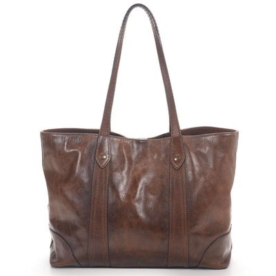 Frye Melissa Shopper Tote in Brown Leather