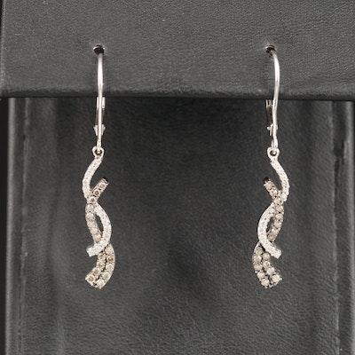 14K Diamond Twist Dangle Earrings