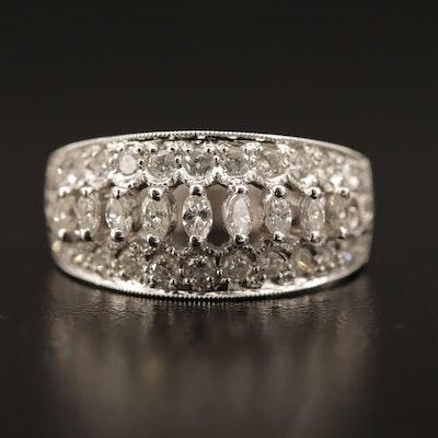 14K Diamond Tapered Openwork Band with Milgrain Details