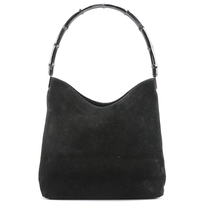 Gucci Bamboo Shoulder Bag in Black Suede