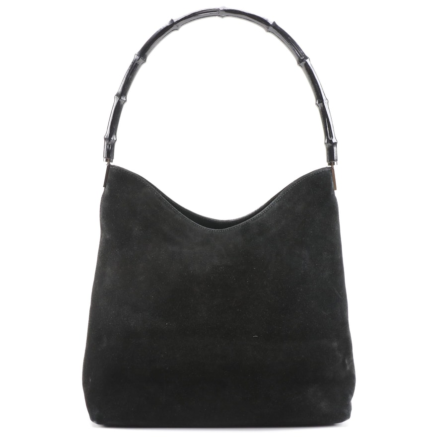 Gucci Bamboo Shoulder Bag in Black Suede