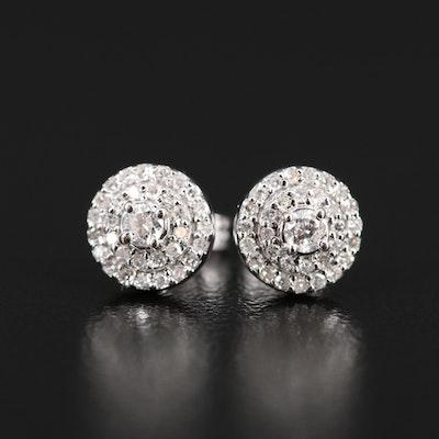 14K Diamond Stud Earrings with 10K Clutches