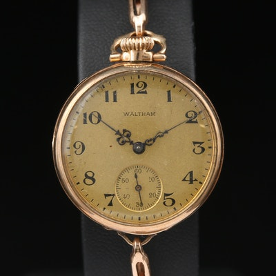 1915 Waltham Rose Tone Gold Filled Convertible Wristwatch