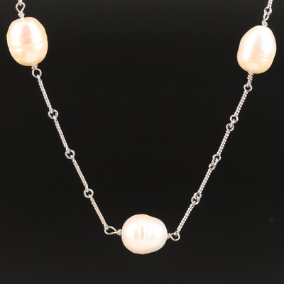 Dirachi 14K Pearl Station Necklace