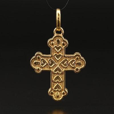14K Trefoil Cross Pendant with Heart Pattern