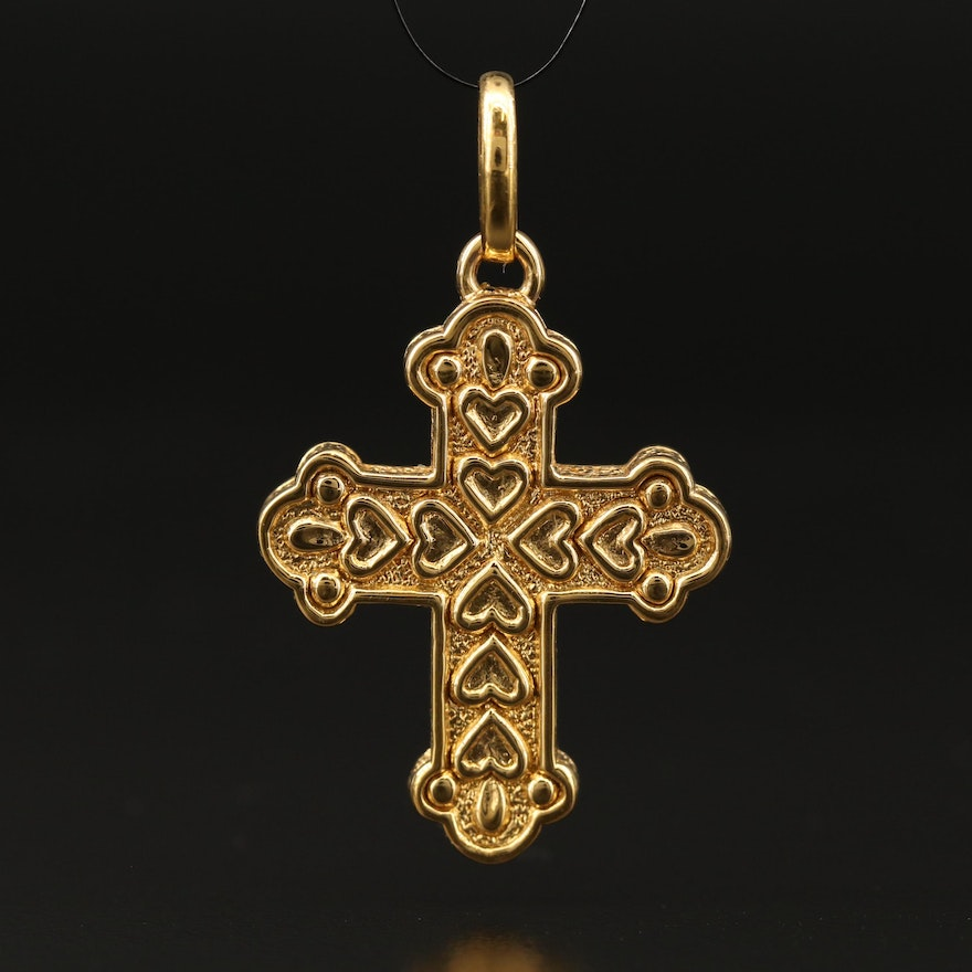 14K Trefoil Cross Pendant with Heart Pattern