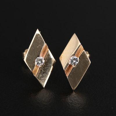 14K Diamond Geometric Stud Earrings