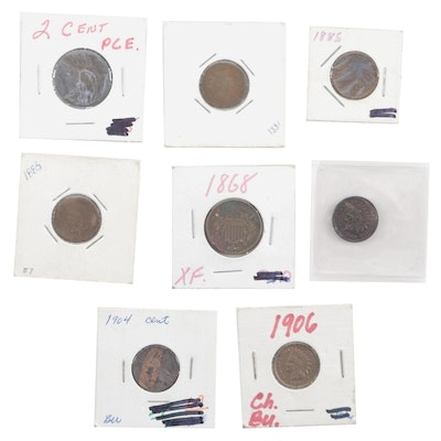 Assortment of Bronze Indian Head Cents and Two-Cent Shield Coins