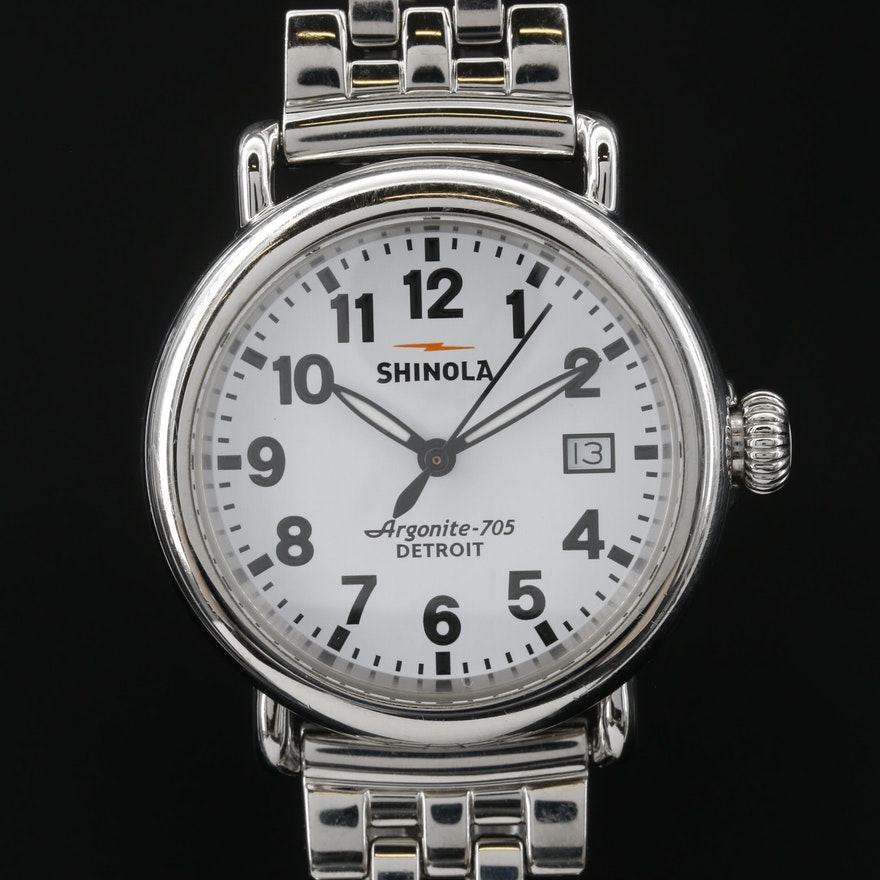 Stainless Steel Shinola Argonite 705 Stainless Steel Quartz Wristwatch