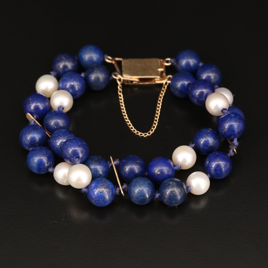 14K Knotted Lapis Lazuli and Pearl Double Strand Bracelet