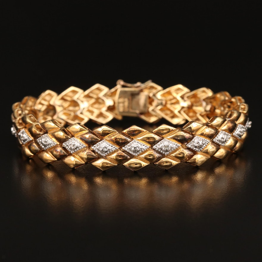 Sterling Diamond Quilted Motif Bracelet