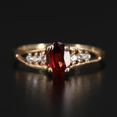 10K Garnet and Cubic Zirconia Ring