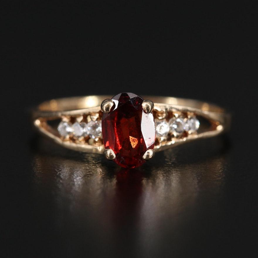 10K Garnet and Cubic Zirconia Ring
