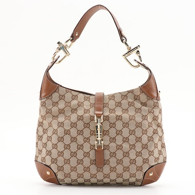 Gucci Jackie GG Canvas and Brown Leather Hobo Bag with Piston Lock