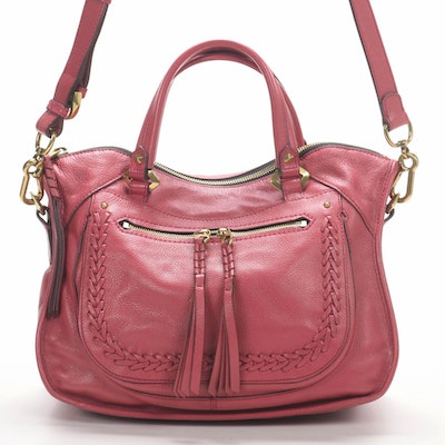 orYANY Whipstitch Two-Way Satchel in Grained Rose Leather with Tassels