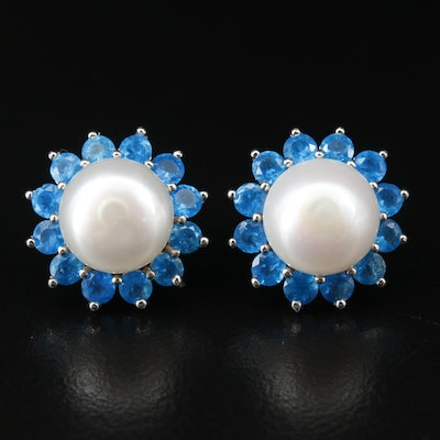 Sterling Silver Pearl and Apatite Button Earrings