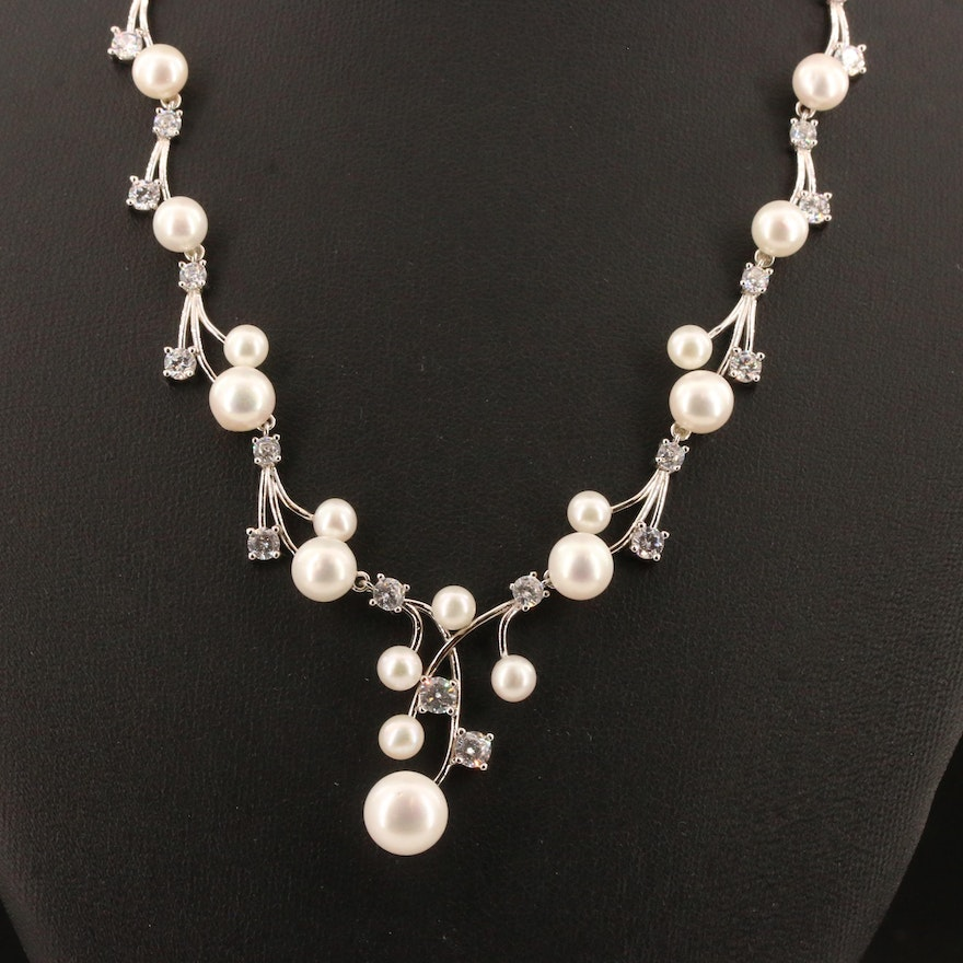 Sterling Silver Pearl and Cubic Zirconia Princess Necklace