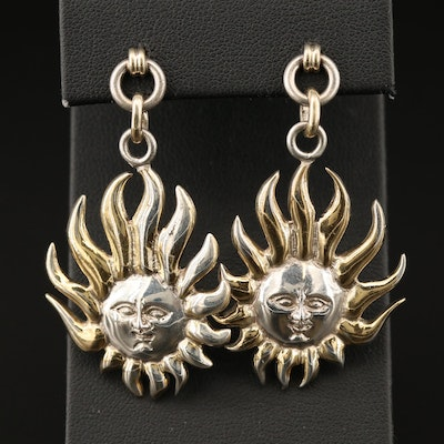 Mexican Sterling Silver Sun Face Earrings