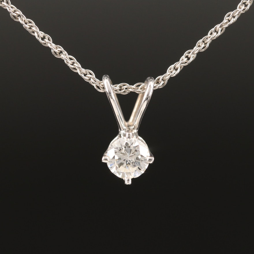 14K 0.32 CT Diamond Solitaire Pendant Necklace