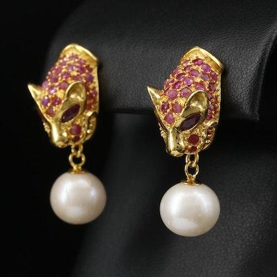 Sterling Pearl and Ruby Feline Dangle Earrings