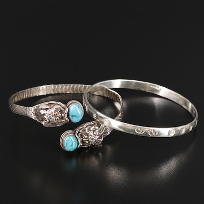 Sterling Silver Bracelets Featuring Turquoise Accented Dragon Motif Cuff