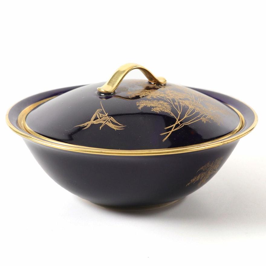 Hutschenreuther Echt Cobalt Porcelain Covered Dish, Mid-20th Century