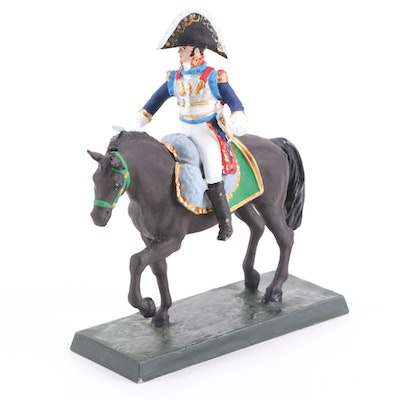 Hand-Painted French Napoleon Era Horse Soldier on Metal Base, Mid-20th C.