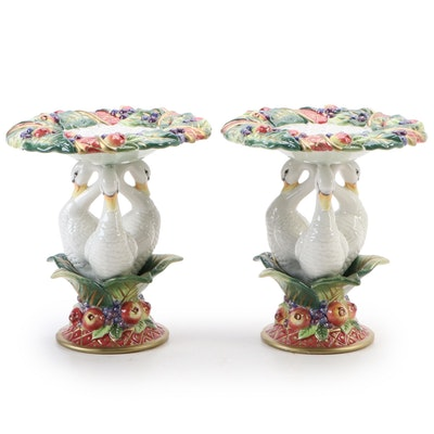 "Fitz and Floyd ""Holiday Swan"" Ceramic Pillar Candle Holders"