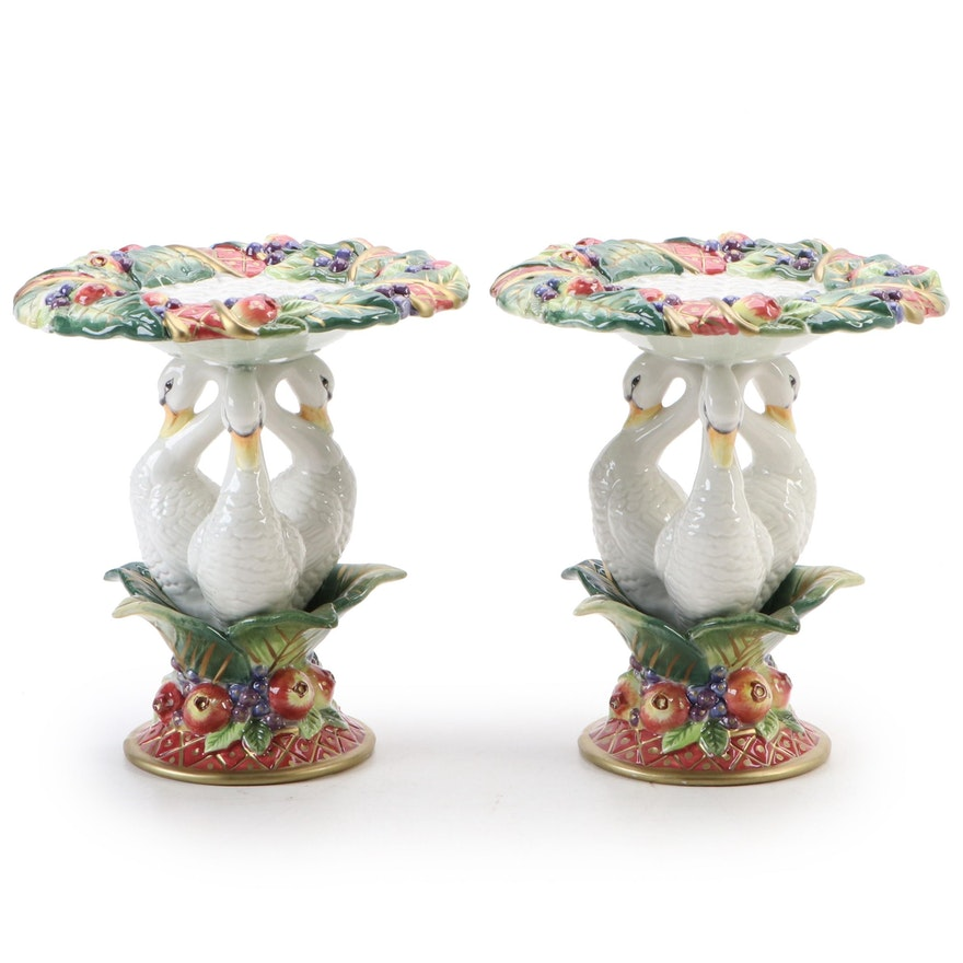 """Fitz and Floyd """"Holiday Swan"""" Ceramic Pillar Candle Holders"""