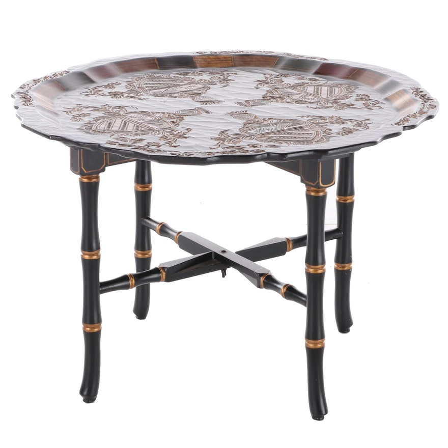 Painted Wooden Tray Table, Late 20th Century