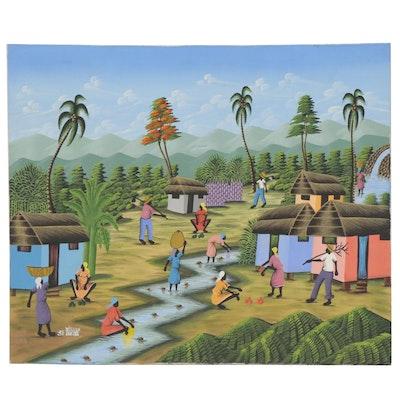 St. Lucian Folk Art Acrylic Painting