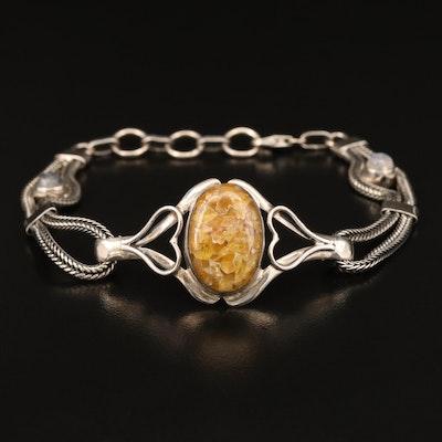 Sterling Copal Bracelet with Heart Motif