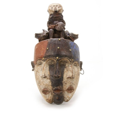 Kongo Triple-Faced Wooden Mask, Central Africa, 20th Century