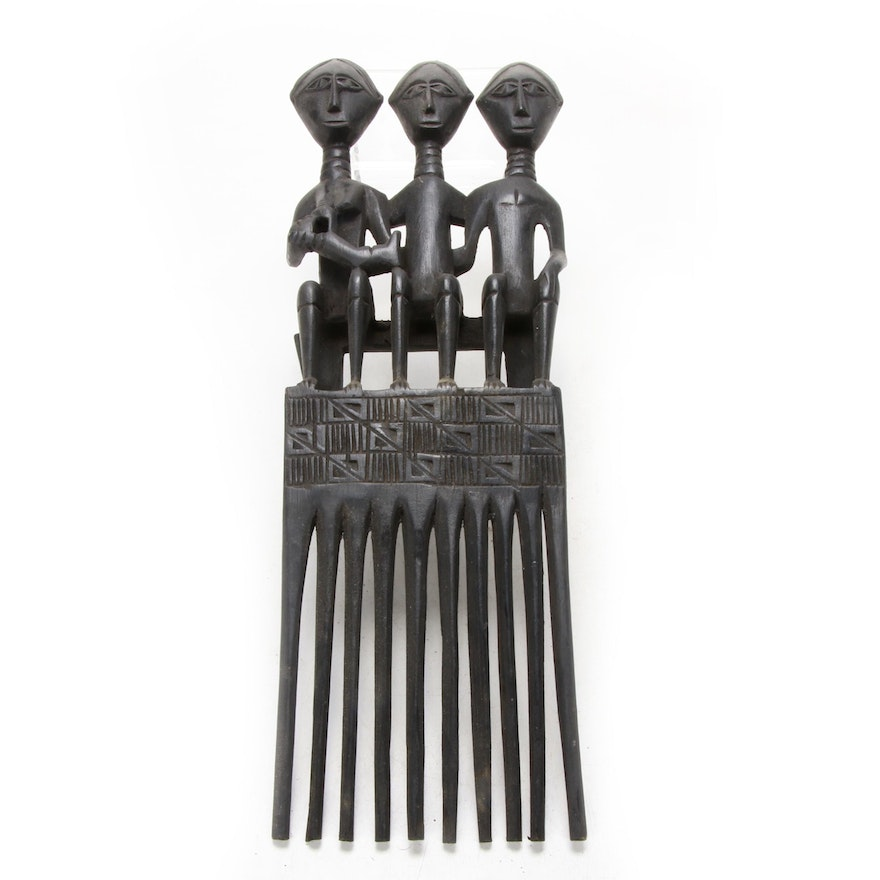 Ashanti Style Wooden Comb, Late 20th Century