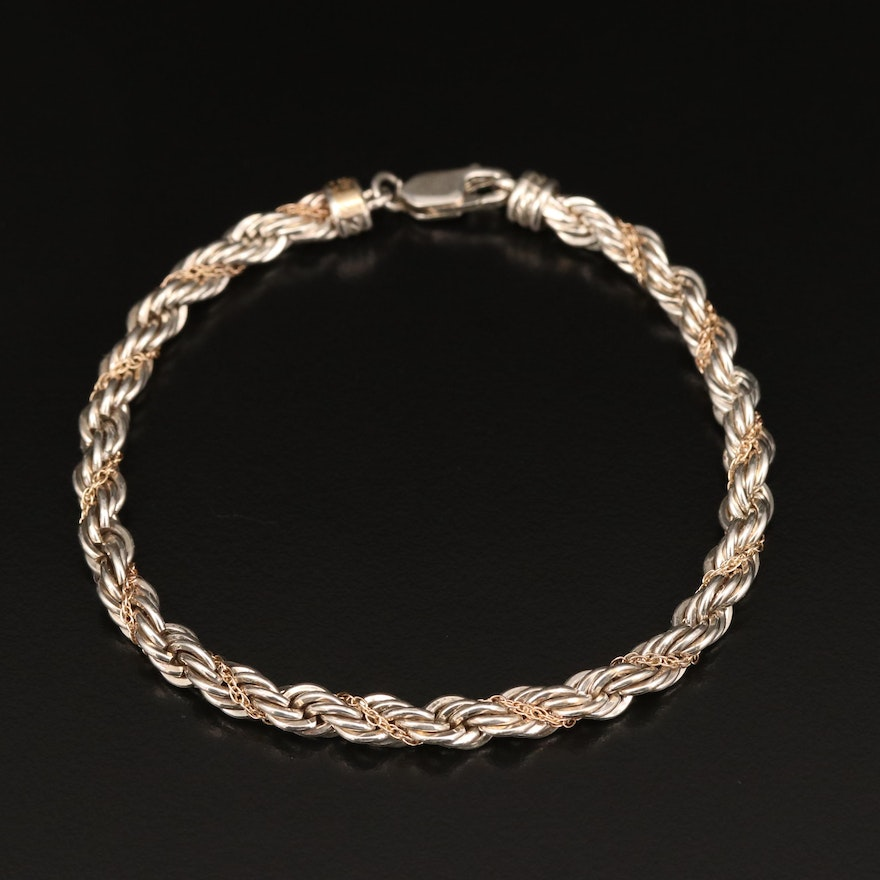 Precious Precious Sterling and 14K Twisted French Rope and Cable Chain Bracelet