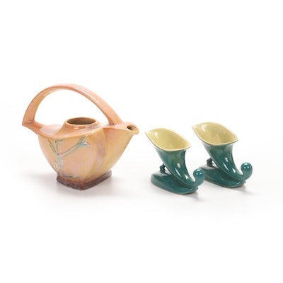 """Roseville """"Snowberry Dusty Rose"""" Pitcher and Green Cornucopia Vases, 1940s"""