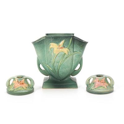 "Roseville Earthenware ""Zephyr Lily Evergreen"" Vase and Candlesticks, 1940s"