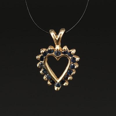 14K Sapphire Heart Pendant