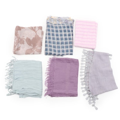 Floral and Striped Linen Scarves and Shawl