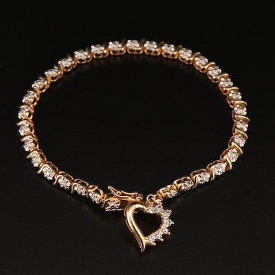 Sterling Silver Fancy Link Diamond Bracelet with Heart Charm